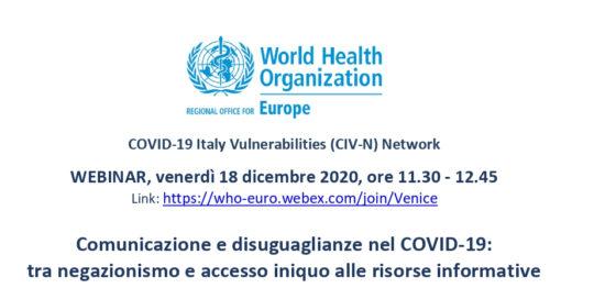 Webinar - Comunicazione e disuguaglianze nel COVID-19: tra negazionismo e accesso iniquo alle risorse informative